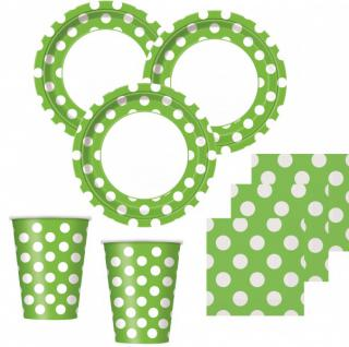 50 Teile Party Set Hellgrün mit weißen Punkten für 16 Personen
