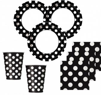 50 Teile Party Set Schwarz mit weißen Punkten für 16 Personen