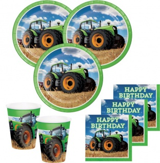 32 Teile Traktor Geburtstags Party Deko Set 8 Personen
