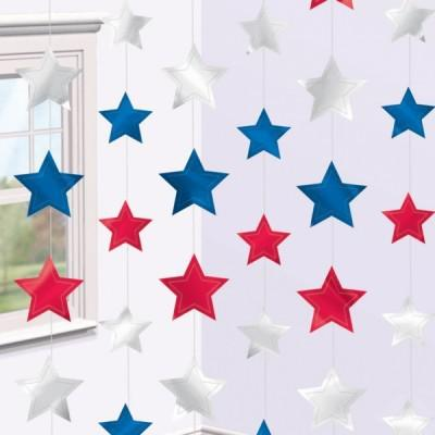 6 hängende Sterne Rot Weiß Blau
