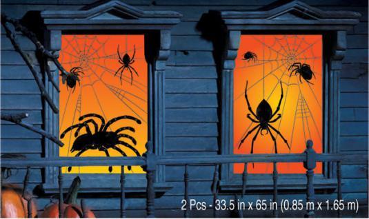 Halloween Fenster Dekoration Spinne 2 Stück