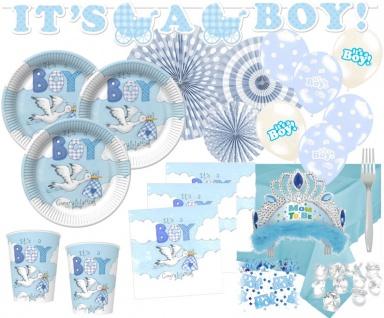95 Teile Deluxe Baby Shower Deko Set Blauer Storch für 16 Personen