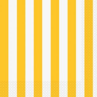 16 Servietten Sonnenblumen Gelbe Streifen
