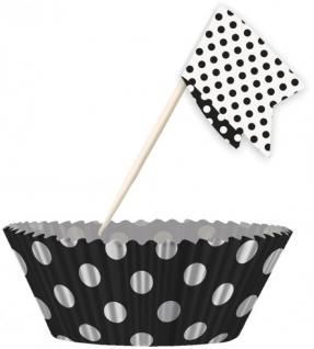 Muffin Förmchen Set Schwarz Weiße Punkte