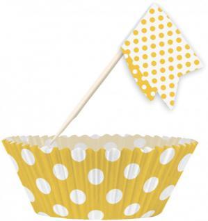Muffin Förmchen Set Gelb Weiße Punkte