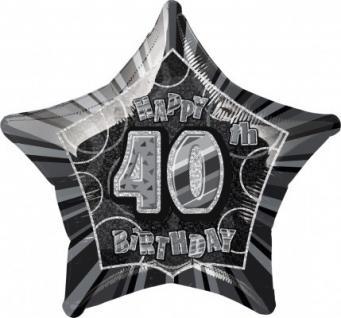 40. Geburtstag Glitzer Folien Ballon Schwarz