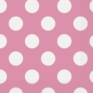 16 kleine Servietten Pink mit Punkten
