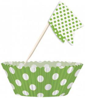 Muffin Förmchen Set Grün Weiße Punkte