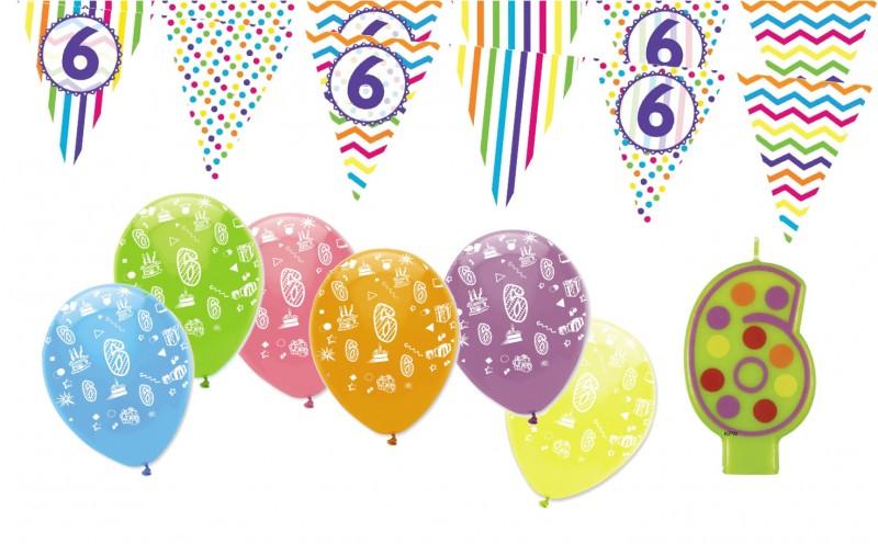 6 geburtstag girlande luftballons kerze deko set sechs kaufen bei kids party world. Black Bedroom Furniture Sets. Home Design Ideas