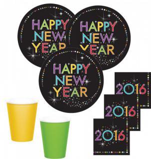 48 Teile Silvester Neujahr 2016 Party Deko Set 16 Personen