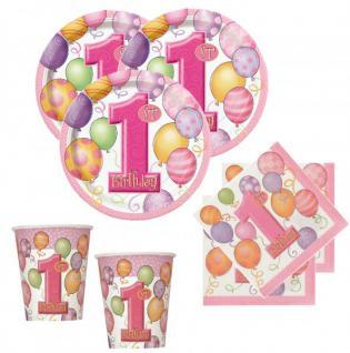 1. Geburtstag Deko Set rosa Ballons für 8 Personen