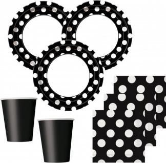 32 Teile Party Set Schwarz mit weißen Punkten für 8 Personen