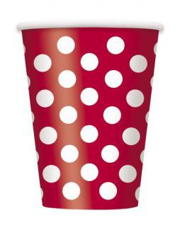 6 Papp Becher Rot mit Punkten