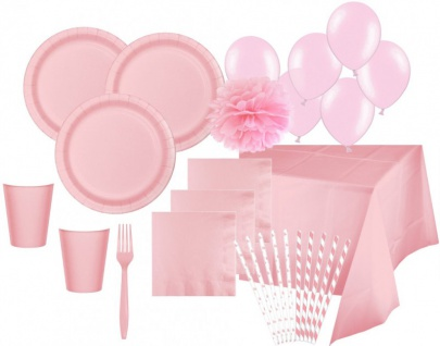 XXL 108 Teile Party Deko Set Pastell Rosa für 16 Personen