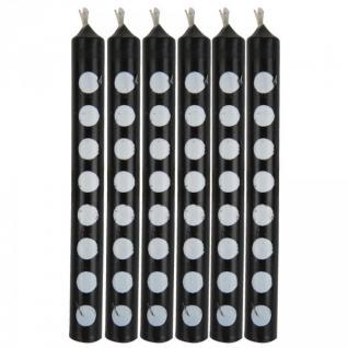12 Kuchenkerzen Schwarz mit weißen Punkten