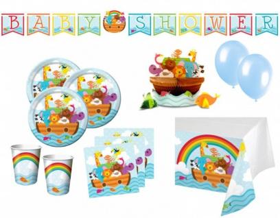 XXL 61 Teile Arche Noah Babyshower Baby Party Deko Set 16 Personen