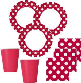 32 Teile Party Set Rot mit weißen Punkten für 8 Personen