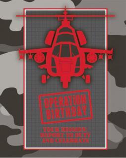 8 Einladungskarten Camouflage im Einsatz