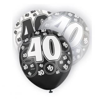 6 Luftballons zum 40. Geburtstag Schwarz Mix