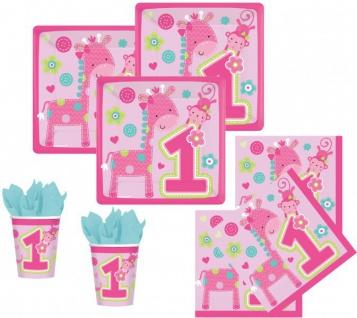 48 Teile Erster Geburtstag Spaß Rosa Party Deko Set 16 Personen