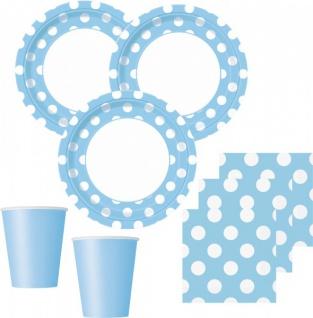 32 Teile Party Set Hellblau mit weißen Punkten für 8 Personen