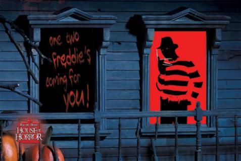 2 Halloween Fenster Silhouetten Freddy Krüger