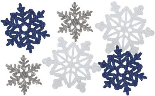 6 Glitzer Pappschilder Schneeflocken