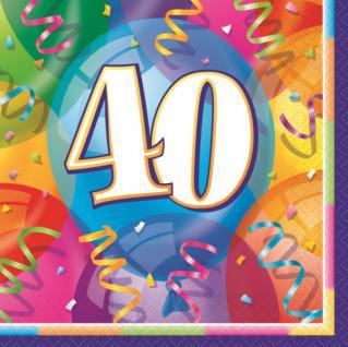 16 bunte Servietten zum 40. Geburtstag