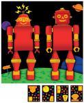 3D Roboter Party 2 Wandfiguren mit Sticker