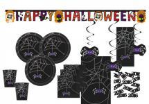 XXL 58 Teile Halloween Deko Set Spinnen Netz für 8 Personen