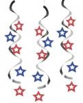 5 hängende Sterne Girlanden rot weiß blau