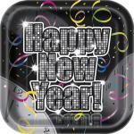 8 Silvester Teller Happy New Year Vintage