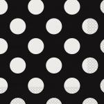 16 kleine Servietten Schwarz mit weißen Punkten
