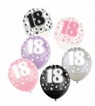 24 Luftballons zum 18. Geburtstag in Pink + Schwarz
