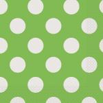 16 Servietten Hellgrün mit Punkten