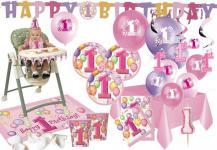 XXL Party Deko Set 1. Geburtstag Rosa für 8 Personen