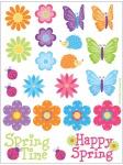 4 Sticker Bogen Schmetterlinge + Blumen