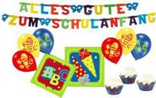 20 Servietten + Girlande + 6 Luftballons + Muffinförmchen zum Schulanfang