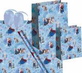 Frozen die Eiskönigin Geschenk Verpackung Set Blau - Anna, Elsa, Olaf - Geschenkpapier, Geschenktasche, Geschenkband - Weihnachten