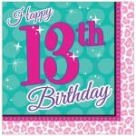16 Servietten Beauty Spa Topmodel zum 13. Geburtstag