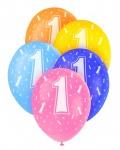 5 Geburtstags Luftballons mit der Zahl 1