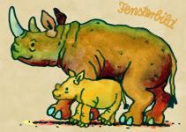 Fensterbild Postkarte Nashorn