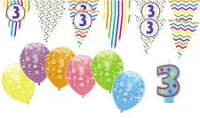 3. Geburtstag Girlande + Luftballons + Kerze Deko Set - Drei, dritter