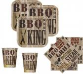 48 Teile Grill Party Deko Set BBQ King 16 Personen