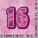 16 Servietten zum 16. Geburtstag in Pink
