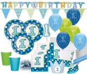 XXL Party Deko Set 1. Geburtstag Punkte und Streifen in Blau & Grün für 16 Personen