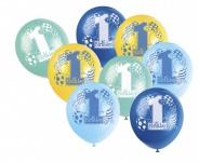 8 Luftballons zum 1. Geburtstag Blau Mix