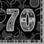 70. Geburtstag Party Servietten Schwarz
