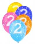 5 Geburtstags Luftballons mit der Zahl 2