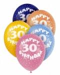 5 bunte Luftballons zum 30. Geburtstag